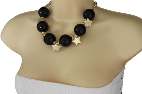 Black / Silver / Gold / Red / White Metal Stars Ball Beads Short Ivory Necklace + Earring Set New Women Fashion Jewelry - alwaystyle4you - 21