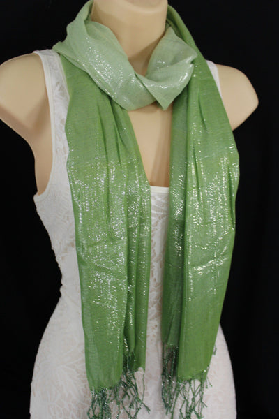 Green Neck Scarf Long Soft Fabric Tie Wrap Classic Bright Shiny New Women Jewelry Accessories - alwaystyle4you - 5