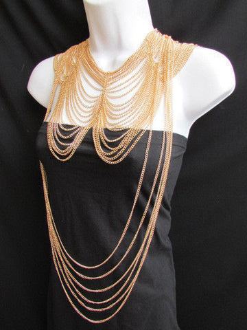 Long Gold / Silver Two Elegant Necklaces + Earring Set Thin Links New Women Fashion Jewelry - alwaystyle4you - 1