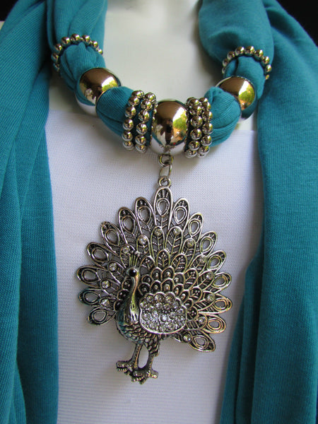 New Women Necklace Fashion Mocha Brown / Blue / Orange / Red / Green / Black Fabric Scarf Long Big Silver Peacock Pendant - alwaystyle4you - 55