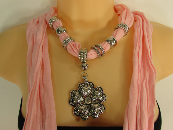 Blue Light Blue Black Dark Brown Light Pink Coral White Soft Scarf Necklace Heart Flower Silver Pendant New Women Fashion 6 Different Colors - alwaystyle4you - 63