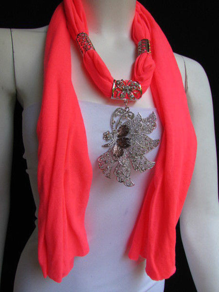 Pink Blue Black Brown Bright Coral Soft Fabric Scarf Long Necklace Big Silver Butterfly Pendant New Women Fashion - alwaystyle4you - 51