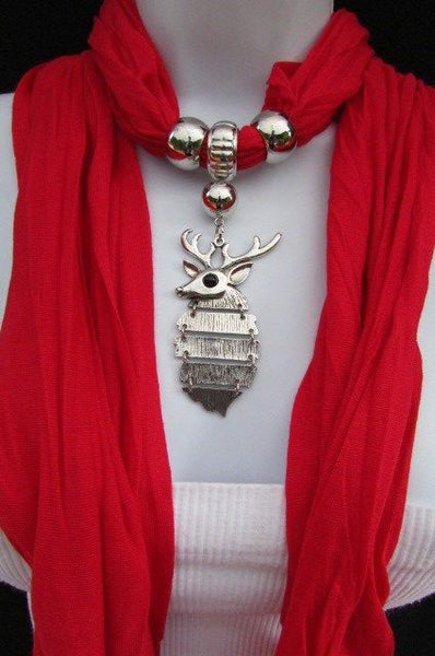 Green  / Red / White / Blue / Beige / Pink / Mustard Long Soft Scarf Necklace Silver Metal Deer Head Pendant For Christmas New Women Fashion - alwaystyle4you - 4