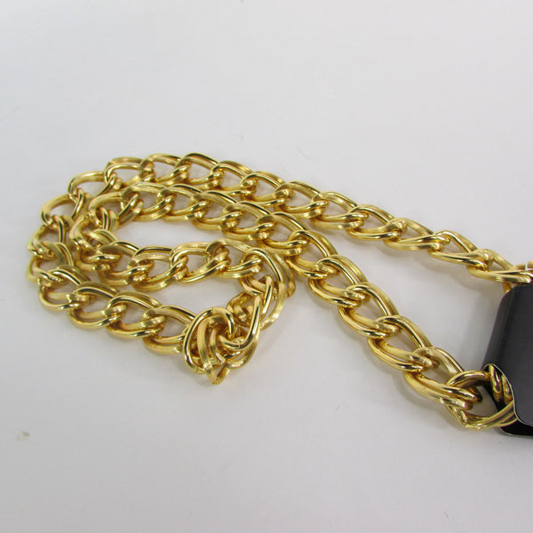 Gold Heavy Metal Double Chain Links Long Chunky Necklace Hip Hop New Men Fashion Accessories