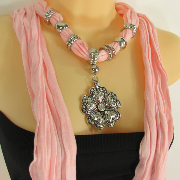 Blue Light Blue Black Dark Brown Light Pink Coral White Soft Scarf Necklace Heart Flower Silver Pendant New Women Fashion 6 Different Colors - alwaystyle4you - 64