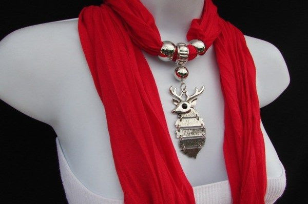 Green  / Red / White / Blue / Beige / Pink / Mustard Long Soft Scarf Necklace Silver Metal Deer Head Pendant For Christmas New Women Fashion - alwaystyle4you - 5