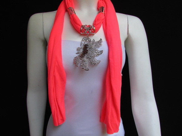 Pink Blue Black Brown Bright Coral Soft Fabric Scarf Long Necklace Big Silver Butterfly Pendant New Women Fashion - alwaystyle4you - 52
