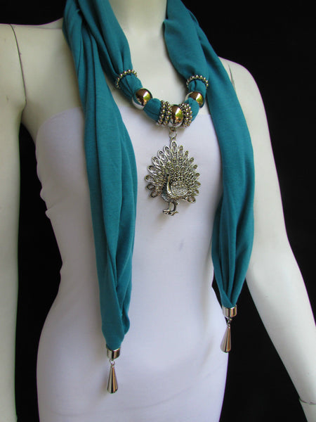 New Women Necklace Fashion Mocha Brown / Blue / Orange / Red / Green / Black Fabric Scarf Long Big Silver Peacock Pendant - alwaystyle4you - 56