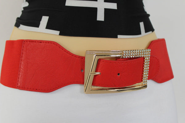 Black / Red / White / Brown Faux Leather Tie Hip Waist Belt Square Gold Rhinestones Buckle New Women Fashion Accessories M L - alwaystyle4you - 3