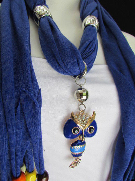 Black, Blue, Beige, Gray, White Soft Scarf Long Necklace Multicolors Wood Beads Owl Pendant New Women Fashion Accessory - alwaystyle4you - 53