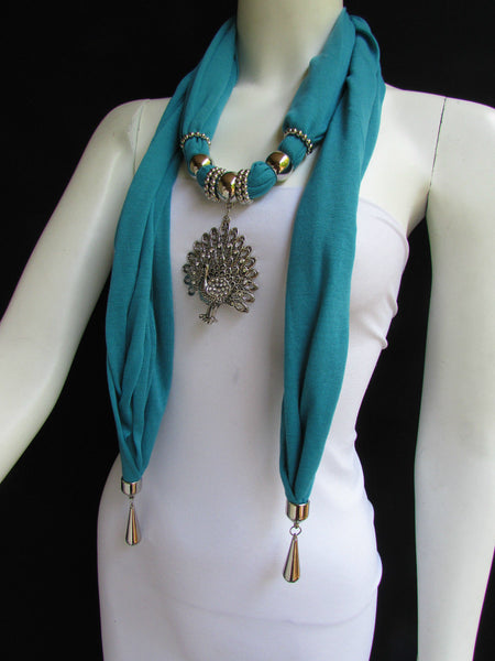 New Women Necklace Fashion Mocha Brown / Blue / Orange / Red / Green / Black Fabric Scarf Long Big Silver Peacock Pendant - alwaystyle4you - 57