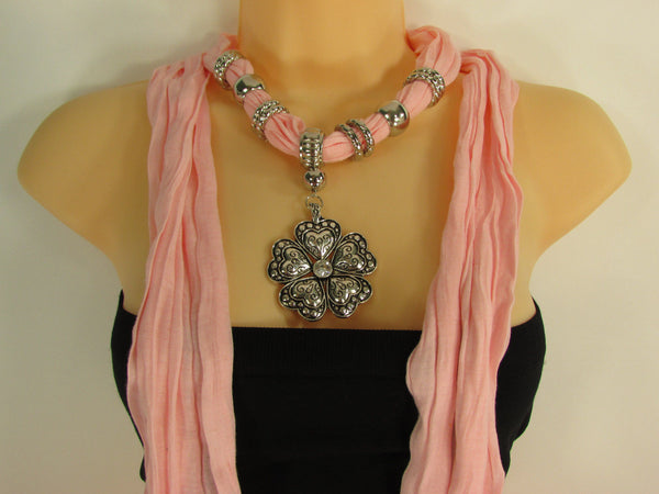 Blue Light Blue Black Dark Brown Light Pink Coral White Soft Scarf Necklace Heart Flower Silver Pendant New Women Fashion 6 Different Colors - alwaystyle4you - 65
