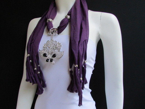 Black Blue Purple Pink Brown Dark Gray Red Bright Coral Green Soft Fabric Scarf Necklace Silver Flowers Butterfly Pendant New Fashion Accessory - alwaystyle4you - 53