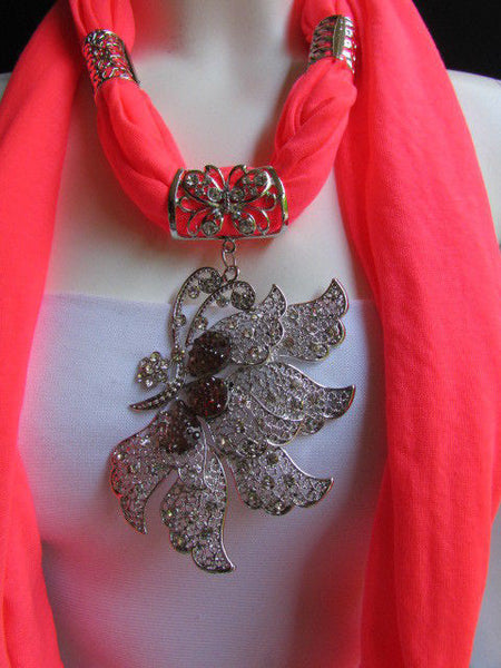 Pink Blue Black Brown Bright Coral Soft Fabric Scarf Long Necklace Big Silver Butterfly Pendant New Women Fashion - alwaystyle4you - 53