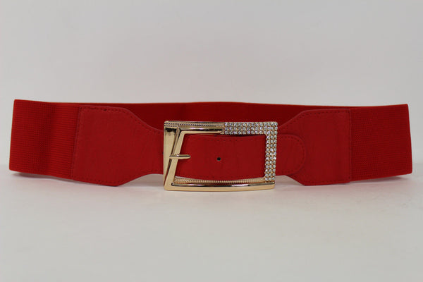 Black / Red / White / Brown Faux Leather Tie Hip Waist Belt Square Gold Rhinestones Buckle New Women Fashion Accessories M L - alwaystyle4you - 51