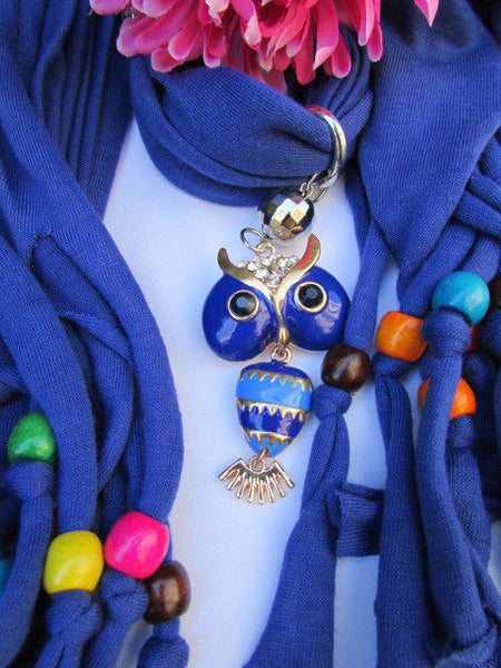 Black, Blue, Beige, Gray, White Soft Scarf Long Necklace Multicolors Wood Beads Owl Pendant New Women Fashion Accessory - alwaystyle4you - 54