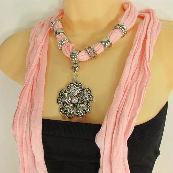 Blue Light Blue Black Dark Brown Light Pink Coral White Soft Scarf Necklace Heart Flower Silver Pendant New Women Fashion 6 Different Colors - alwaystyle4you - 66