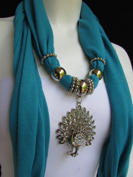 New Women Necklace Fashion Mocha Brown / Blue / Orange / Red / Green / Black Fabric Scarf Long Big Silver Peacock Pendant - alwaystyle4you - 58