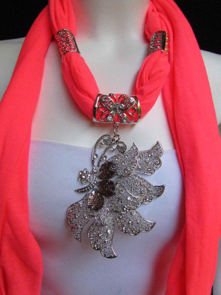 Pink Blue Black Brown Bright Coral Soft Fabric Scarf Long Necklace Big Silver Butterfly Pendant New Women Fashion - alwaystyle4you - 55