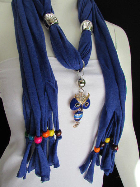 Black, Blue, Beige, Gray, White Soft Scarf Long Necklace Multicolors Wood Beads Owl Pendant New Women Fashion Accessory - alwaystyle4you - 55
