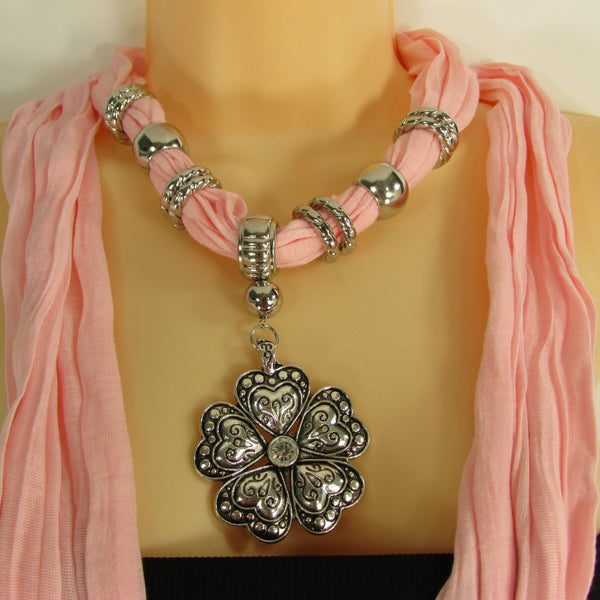 Blue Light Blue Black Dark Brown Light Pink Coral White Soft Scarf Necklace Heart Flower Silver Pendant New Women Fashion 6 Different Colors - alwaystyle4you - 67