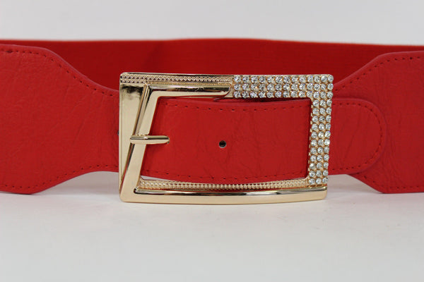 Black / Red / White / Brown Faux Leather Tie Hip Waist Belt Square Gold Rhinestones Buckle New Women Fashion Accessories M L - alwaystyle4you - 53