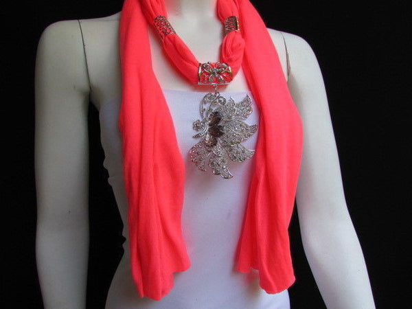 Pink Blue Black Brown Bright Coral Soft Fabric Scarf Long Necklace Big Silver Butterfly Pendant New Women Fashion - alwaystyle4you - 56