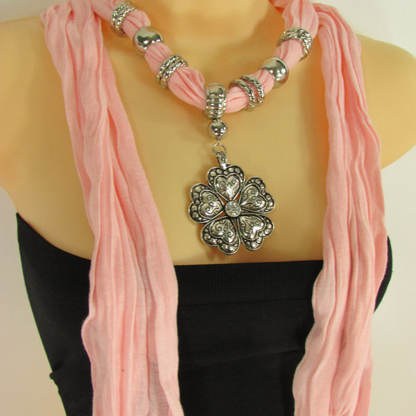 Blue Light Blue Black Dark Brown Light Pink Coral White Soft Scarf Necklace Heart Flower Silver Pendant New Women Fashion 6 Different Colors - alwaystyle4you - 68