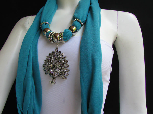 New Women Necklace Fashion Mocha Brown / Blue / Orange / Red / Green / Black Fabric Scarf Long Big Silver Peacock Pendant - alwaystyle4you - 60