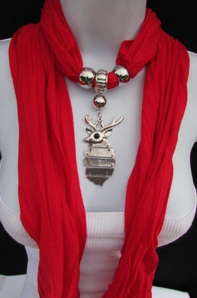 Green  / Red / White / Blue / Beige / Pink / Mustard Long Soft Scarf Necklace Silver Metal Deer Head Pendant For Christmas New Women Fashion - alwaystyle4you - 9
