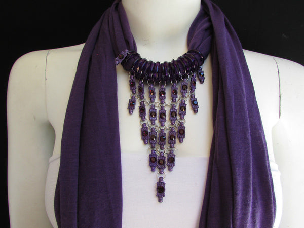 Black White Blue Purple Light Pink Lavander Lime Green Soft Scarf Long Necklace Triangle Big Rhinestones Pendant Women Fashion - alwaystyle4you - 12