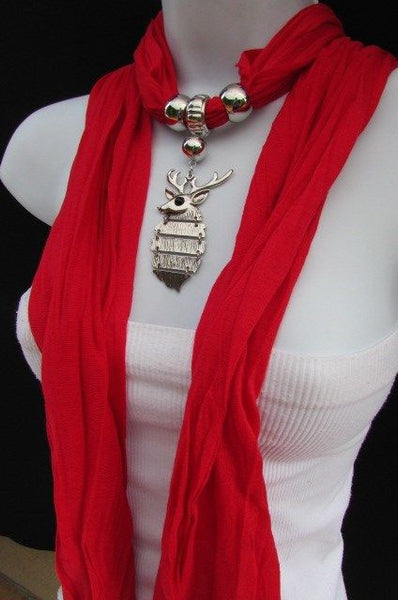Green  / Red / White / Blue / Beige / Pink / Mustard Long Soft Scarf Necklace Silver Metal Deer Head Pendant For Christmas New Women Fashion - alwaystyle4you - 10