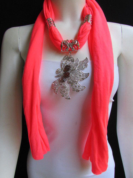 Pink Blue Black Brown Bright Coral Soft Fabric Scarf Long Necklace Big Silver Butterfly Pendant New Women Fashion - alwaystyle4you - 57