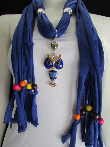 Black, Blue, Beige, Gray, White Soft Scarf Long Necklace Multicolors Wood Beads Owl Pendant New Women Fashion Accessory - alwaystyle4you - 57