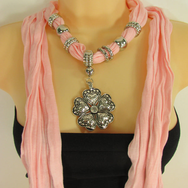 Blue Light Blue Black Dark Brown Light Pink Coral White Soft Scarf Necklace Heart Flower Silver Pendant New Women Fashion 6 Different Colors - alwaystyle4you - 69