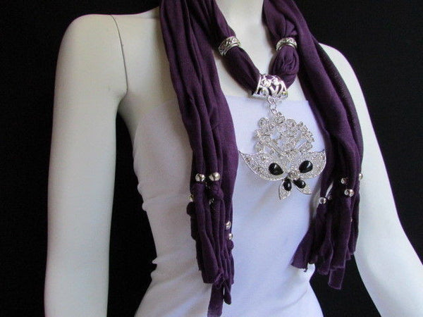 Black Blue Purple Pink Brown Dark Gray Red Bright Coral Green Soft Fabric Scarf Necklace Silver Flowers Butterfly Pendant New Fashion Accessory - alwaystyle4you - 58
