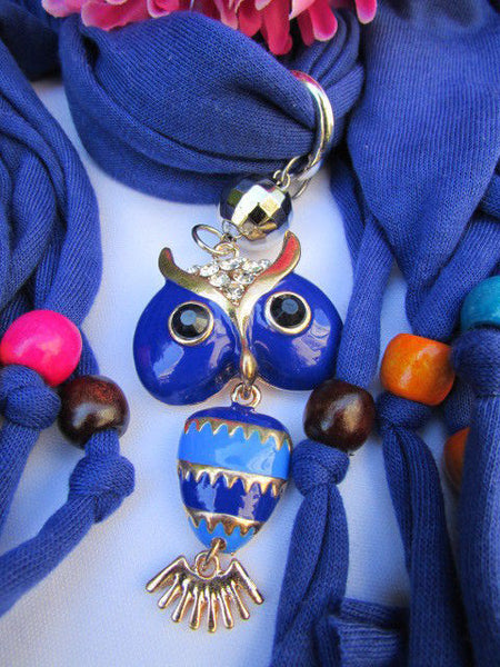 Black, Blue, Beige, Gray, White Soft Scarf Long Necklace Multicolors Wood Beads Owl Pendant New Women Fashion Accessory - alwaystyle4you - 58