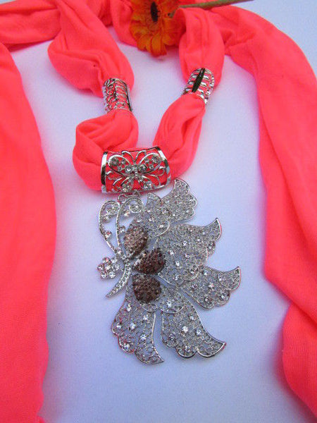 Pink Blue Black Brown Bright Coral Soft Fabric Scarf Long Necklace Big Silver Butterfly Pendant New Women Fashion - alwaystyle4you - 58