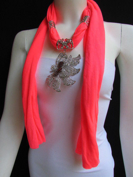 Pink Blue Black Brown Bright Coral Soft Fabric Scarf Long Necklace Big Silver Butterfly Pendant New Women Fashion - alwaystyle4you - 59