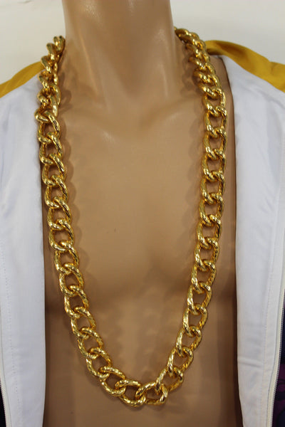 Chunky Metal Thick Chain Links Heavy Long Necklace Gold Hip Hop New Men Biker Fashion - alwaystyle4you - 10