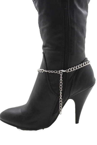 Silver Gold Metal Plate Chain Mini Skulls Bling Anklet Shoe Charm New Women Boot Bracelet Jewelry - alwaystyle4you - 6