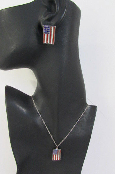 USA American Flag Star/Square/Heart Silver Metal Necklace + Matching Earring Set New Women - alwaystyle4you - 31
