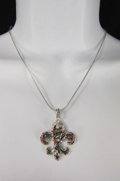 Silver Metal Fleur De Lis Lily Flower Bull Colorfull Rhinestones/ Silver Necklace New Women Fashion - alwaystyle4you - 6