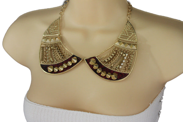 Bronze / Gold Short Bib Metal Chains Collar Spikes Necklace + Earrings Set New Women Fashion Jewelry - alwaystyle4you - 7