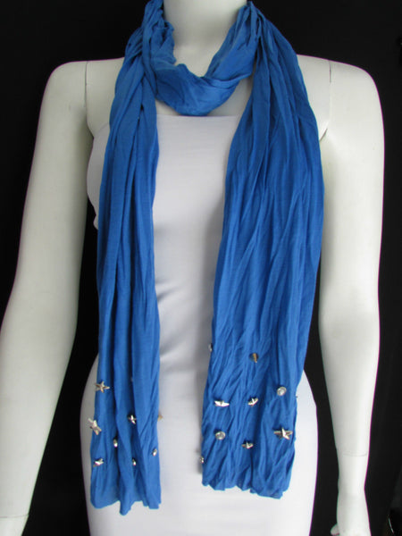 New Women Soft Fabric Fashion White / Blue /  Gray / Black Scarf Long Necklace Silver Metal Stars Studs - alwaystyle4you - 18