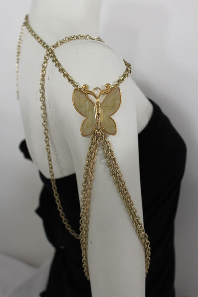 New Women Shoulder Chain Gold Metal Big Butterfly Necklace Body Jewelry Harness - alwaystyle4you - 8