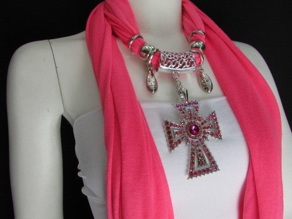 New Women Soft Fabric Dark Brown / Pink Scarf Necklace Western Rhinestones Cross Pendant - alwaystyle4you - 6