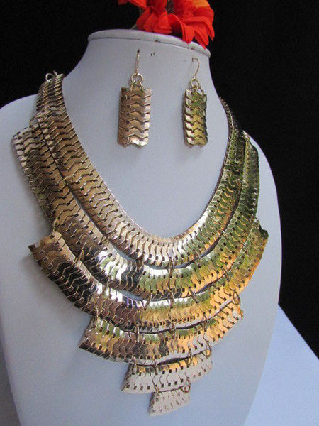 Wide 6 Strands Gold Links Chains Metal Statement Necklace + Matching Earrings Set New Women - alwaystyle4you - 6