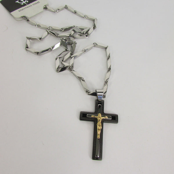 Black Silver Or Gold Cross Pendant New Men Silver Stainless Steel Jesus Christ Metal Chain Necklace - alwaystyle4you - 7