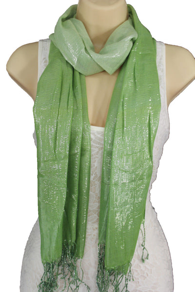 Green Neck Scarf Long Soft Fabric Tie Wrap Classic Bright Shiny New Women Jewelry Accessories - alwaystyle4you - 6